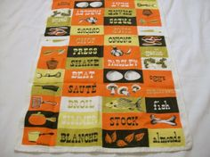 Vintage Tea Towel, Cooking Theme, Town House Linen, Pure Linen, 1950s, Kitchen towel by VintagePlusCrafts on Etsy