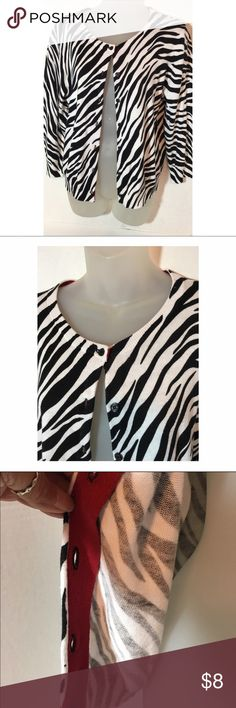 Zebra print cardigan XL Piper & blue XL. Edge in inside is red. Super cute with dress pants or jeans Piper & Blu Sweaters Cardigans