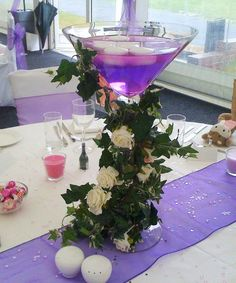 Purple centrepiece with ivy