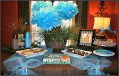 cute boy baby shower idea Tulle table runner for dessert table.. I would change the tulle to pink