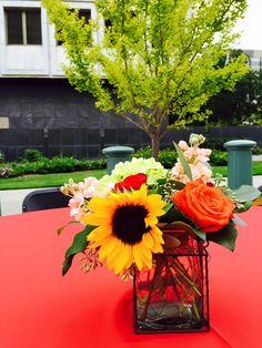 sunflowers, rose, stock centerpiece