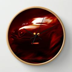 Flaming Alfa Gtv 916 Wall Clock by Stefano Rimoldi - $30.00 Alfa Gtv, Clock, Abstract, Wall, Artwork, Home Decor, Watch, Summary, Work Of Art