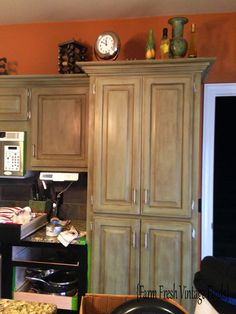 Oak Kitchen Cabinets in Annie Sloan Chateau Grey and Reclaim Licorice Part 2 and Reveal - Farm Fresh Vintage Finds