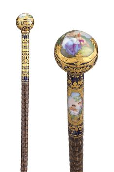 This porcelain-topped French cane features hand-painted neoclassical vignettes. Its deep royal blue background is perfectly paired with the exquisite gold enameling. ~ For Sale by M. Walking Sticks And Canes, Walking Canes, Royal Blue Background, Atlantis, Cane Handles, Character Illustration, Vignettes, Porcelain, Hand Painted