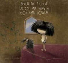 A la calle Good Night Quotes, Good Morning, Banner, Pure Products, Drawings, Cute, Movie Posters, Hair, Painting
