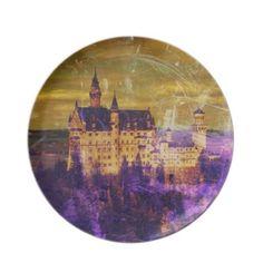 Neuschwanstein Castle - Purple Yellow Photo Edit Dinner Plate