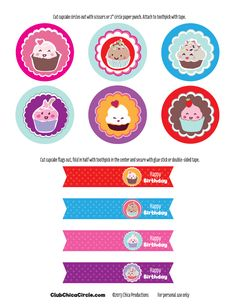 Free Happy Birthday Cupcake Topper Printable   Tween Craft Ideas for Mom and Daughter