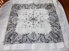 Vintage Black and White Bandana Handkerchief, Made in USA, UNUSED on Etsy, Sold