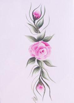 Pink Rose Hand Painted Greeting Card by KarenUnderwoodArt on Etsy, £3.50