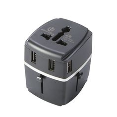BONAZZA Universal World Travel Adapter Kit w/4 USB Ports - UK, US, AU, Europe Plug Adapter - Over 150 Countries & USB Power Adapter for iPhone, Android, All USB Devices - Surge Protection