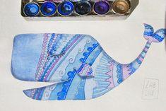 balena blu, illustrazione ad acquerello #etsy #balena #blu #acquerello #illustrazione #watercolor #illustrazione #whale #blue #poster #bambini #arredamentocameretta