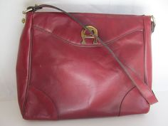 Vintage ETIENNE AIGNER HAND MADE Wine Leather Medium Hand Shoulder Bag Handbag #EtienneAigner #ShoulderBag