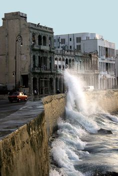 Malecon, Havana, Cuba  My mother and i used to eat ice cream and watch these waves crash for hours