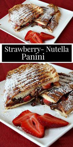 Strawberry Nutella Panini - Sandwiches World 2020 Gourmet Sandwiches, Cold Sandwiches, Panini Sandwiches, Grilled Sandwich, Healthy Sandwiches, Sandwiches For Lunch, Breakfast Sandwiches, Breakfast Panini, Healthy Panini Recipes