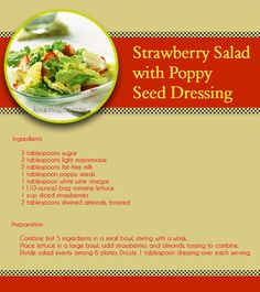 Strawberry Salad with Poppy Seed Dressing summer yummy strawberries delicious recipe recipes ingredients salad healthy easy recipes easy recipe straberry poppy seed dressing