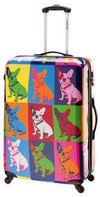 Saxoline blue Bulldog 4-Rad Trolley 60cm multicolor bulldog print frenchie Bulldogge Hunde Hundehalter Trend Warhol Style art Dogart Design