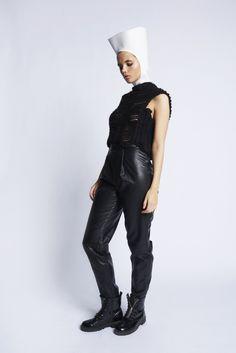 PURITAN - SIMPLICITY -TRANSEASONAL '15  Knit & leatherpants  Stine Jørgensen