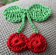 love made my home: Crocheted Cherry Brooch Tutorial and Giveaway