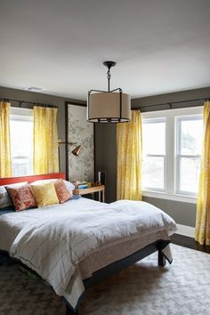 Awesome Grey and Yellow Bedroom Inspirations - Page 33 of 54 Bedroom Windows, Cozy Bedroom, Girls Bedroom, Bedroom Decor, Bedroom Colors, Bedroom Bed, Master Bedrooms, Bedroom Yellow, Tiny Bedrooms