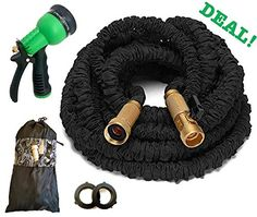 8 Way Nozzle ALL NEW 2017 Expandable Garden Hose Set With All Brass Connectors