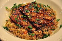 farro risotto with grilled tofu