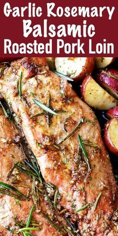 Garlic and Rosemary Balsamic Roasted Pork Loin - Easy to make, flavorful, incredibly tender pork loin rubbed with a Garlic and Rosemary Balsamic mixture makes for a crowd pleasing dinner with very little effort. Easy Pork Loin Recipes, Healthy Pork Tenderloin Recipes, Boneless Pork Loin Recipes, Pork Loin Rub, Rosemary Pork Tenderloin, Pork Loin Recipe Rosemary, Marinade For Pork Tenderloin, Roast Brisket, Pork Chops
