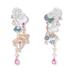 Cerfs-Volants earrings, large model, pink gold, colored sapphires, white gold, mother-of-pearl, diamonds