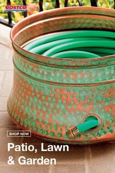 "Make hose storage simple and stylish with this hand-hammered steel hose pot with copper patina finish. Built with an inlet port for water/hose connection and drainage holes in the basin, this pot can hold up to 100' of 5/8"" hose. Shop now at Costco.com."