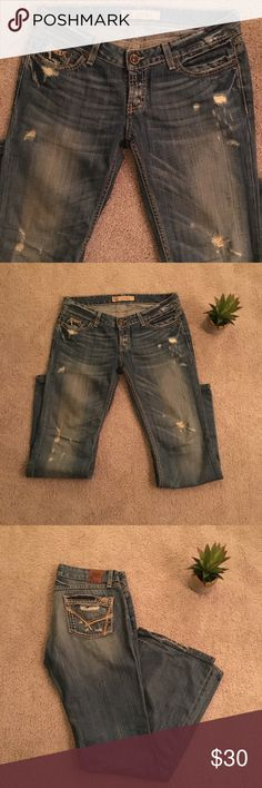 """BKE Stella jeans - best destruction/stitching 28x31.5"""" - hemmed from Buckle seamstress to length of approx. 30.25"""". Some wear on the back of bottoms (shown in pics) - otherwise in EUC. I would LOVE to keep these for the style, stitching, distress - but I need to pass on jeans that no longer are my size! BKE Jeans"""