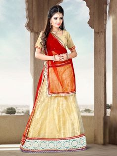 Cream Net Lehenga Choli with Lace Work