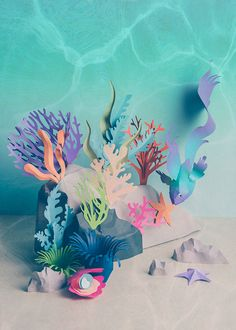Zooohotel Patterns on Behance Sculpture Art, Sculptures, Paper Fish, Diy Crafts For Girls, Coral Art, Paper Artwork, Underwater Art, Mid Century Art, Environment Concept Art