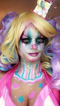 Pastel Star & Heart Z Glitter Clown Self application  Makeup @ StarstoSkulls on Instagram & Facebook