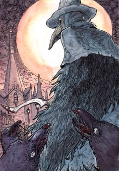 """thestudyofmonsters: """" """"Bring them Mercy."""" Another piece for Baltimore ComicCon, this time of my favorite character from Bloodborne, Eileen the Crow, Hunter of Hunters. And the carrion crows, of..."""