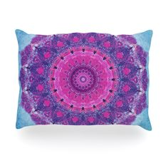 "Iris Lehnhardt ""Grunge Mandala"" Purple Blue Oblong Pillow"
