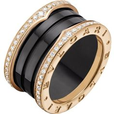BVLGARI B.zero1 four-band 18ct pink-gold black ceramic and diamond... (€4.655) ❤ liked on Polyvore featuring jewelry, rings, rose gold jewelry, pave diamond ring, diamond band ring, diamond jewelry and womens jewellery