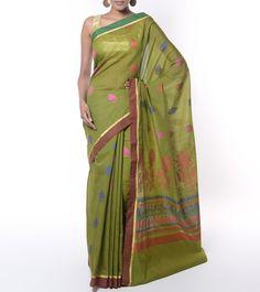 Green Chanderi Handloom Banarasi Saree