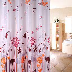 Waterproof Fabric Shower Curtain - Dandelion Design