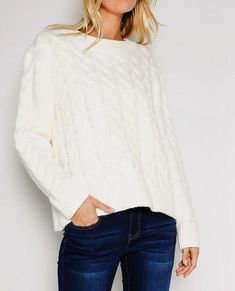 Fully Cabled Chunky Ivory sweater