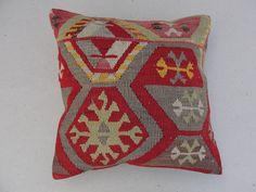 "Embroidered Handwoven Striped Vintage Tribal Turkish Kilim Pillow cover 16"" x 16"""