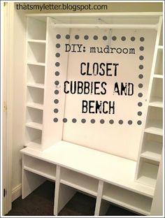 """M"" is for Mudroom Closet  Build: mudroom closet cubbies & bench"
