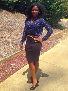Sheer Sophisticated Chic, Polka Dot Blouse, High Belted Waist Pencil Skirt, Black Pumps, Interview Outfit, Work Outfit