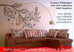 Vinyl wall art decals Large Leafy Branch Decal by SurfaceInspired Modern Sectional, Sectional Sofa, Couch, Vinyl Wall Art, Wall Decals, Boudoir, Printed Cushions, Center Table, Wall Design