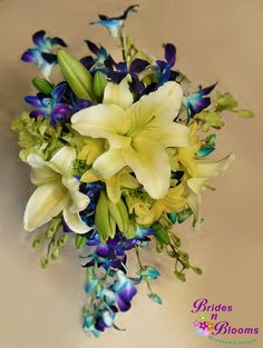 Blue & Green Orchids with Asiatic Lily Cascade style bouquet
