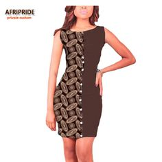 17 summer african sexy women dress AFRIPRIDE private custom sleeveless above-knee length sheathy women dress pure cotton A722586