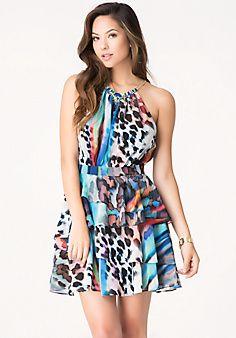 Ruffle Skirt Cocktail Dress
