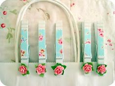 pretty floral clothespins