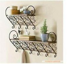 Most recent Pics Wrought Iron shelves Style Residence beautifying having wrought iron is as solid nowadays because the wrought iron metal itself. Rustic Wall Shelves, Bathroom Wall Shelves, Wall Mounted Shelves, Rustic Walls, Bathroom Rack, Shelf Wall, Corner Shelf, Glass Shelves, Wrought Iron Decor
