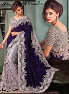Navy blue and silver saree with blouse #BlousesForWomenSaree