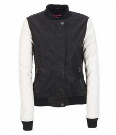 contrast bomber leather jacket