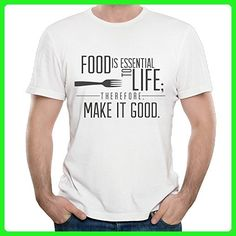 FOOD IS ESSENTIAL TO LIFE Mens Novelty Humor Funny Party T-shirts - Food and drink shirts (*Amazon Partner-Link)